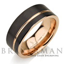 Black Tungsten Ring Rose Gold Wedding Band Ring Tungsten 9mm 18K Tungsten Ring Man Band Male Women Rose Gold Ring Rose Gold Sides
