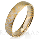 Yellow Gold Brushed Mokume Gane Tungsten - Forged Ring- Mokume Band - Damascus Ring- Two Color Mokume- Mokume Wedding Bands - Mokumegane