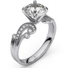 טבעת אירוסין זהב לבן 14 קראט בסגנון וינטאג' ויקטוריאני משובצת ביהלום עגול ו0.25 קרט יהלומים צדדיים