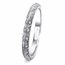 14K White Gold Diamond Leaf Wedding Ring, Diamond Wedding Band - Leaf Ring Wedding Band