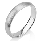 Mens Wedding Band, Solid 14k White Gold 4mm Brushed Gold Ring, Wedding Ring, Womens Wedding Band