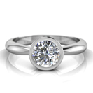 14K White Gold Full Bezel Setting Engagement Ring