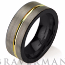 Black Gunmetal Black Tungsten Ring Yellow Gold Wedding Band Ring Tungsten 9mm Tungsten Ring Man Wedding Band Male Women Stripe
