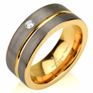 Black Gunmetal Tungsten Ring Yellow Gold Wedding Band Diamond Ring Tungsten 9mm Tungsten Ring Man Wedding Band Male Women Stripe