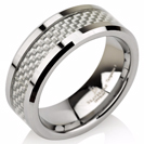 Mens Wedding Band, Tungsten Wedding Ring, Carbon Fiber Ring, Comfort Fit, Mens Wedding Ring FREE Laser Engraving