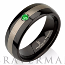 Apple Green Emerald Tungsten Wedding Band,Silver Man Tungsten Wedding Ring,Black Tungsten,Engagement Ring,His,Comfort Fit,Emerald Band