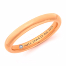 14K Rose Gold Wedding Band, Hidden Diamond And Inscription Wedding Ring - 3mm