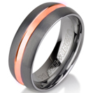 Black Gunmetal Tungsten Ring Rose Gold Wedding Band Ring Tungsten 8mm Tungsten Ring Man Wedding Band Male Women Stripe Rounded