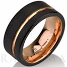 """טבעת שחורה לגבר בשילוב זהב אדום ברוחב 9 מ""""מ העשויה טונגסטן"""