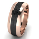 14k Solid Rose Gold 8mm Ring - Brushed Black Rhodium Plating Center