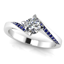 14k White Gold Triangular Prongs With a Twisted Shank Set with a Diamond and Accent Blue Sapphires