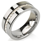 Braided Silver Inaly Tungsten Wedding Bands, Mens Ring, Mens Wedding Bands, Flat Top Round 8mm