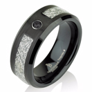 Black Mens Meteorite Wedding Band, Black Diamond Mens Wedding Band Meteorite Ring, Mens Meteorite Ring, Meteor Ring, Tungsten Wedding Band