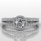 14k White Gold Double Pave Split Shank Halo - Diamond Engagement Ring