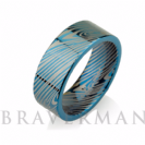 Blue Mokume Gane Tungsten - Forged Ring - Mokume Band - Damascus Ring - Three Color Mokume - Mokume Wedding Bands - Mokumegane