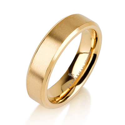 Titanium wedding bands - 14k Gold Plate Brushed titanium ring with beveled edges - 5mm