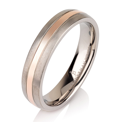 Titanium wedding bands - Polished 14k rose gold plating titanium ring with brushed sides - 6mm