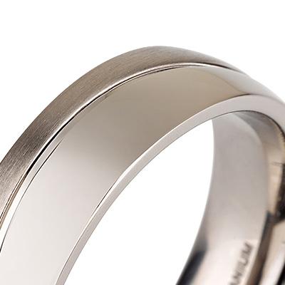 Titanium wedding bands - Half Brushed Half Polished titanium ring - 6mm