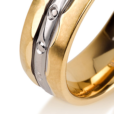 Titanium wedding bands - 14k Gold Plate polished titanium ring with diamond-like engraving - 6mm