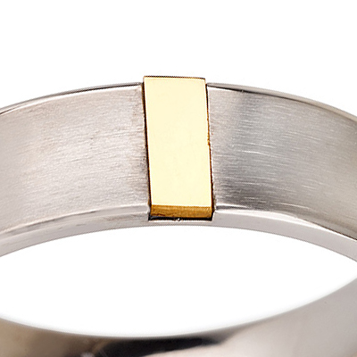 Titanium wedding bands - Curved brushed titanium ring with 14k gold plate trim - 6mm