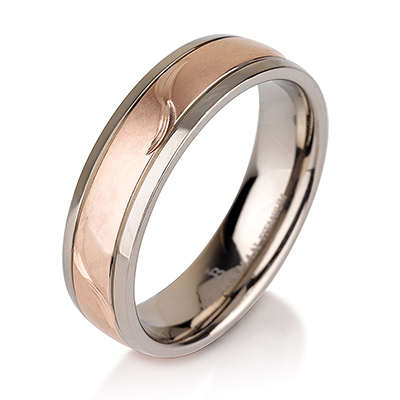 Titanium wedding bands - 14k Rose Gold Plate brushed titanium ring with leaf engraving - 6mm