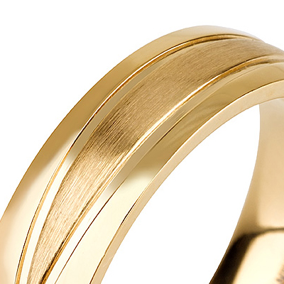 Titanium wedding bands - 14k Gold Plate polished titanium ring with brushed engraved finishing - 6mm