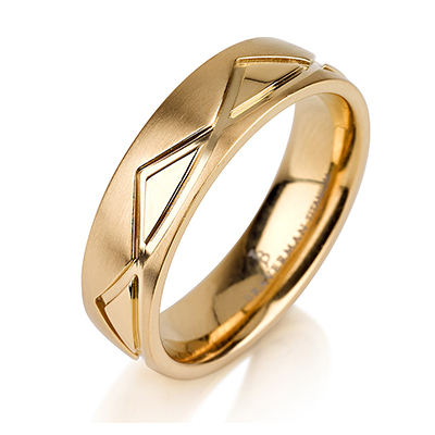 Titanium wedding bands - 14k Gold Plate brushed titanium ring with polished triangles trimming - 6mm