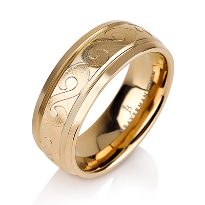 Titanium wedding bands - 14k Gold Plate vintage design titanium ring with engraved tunnels - 7mm