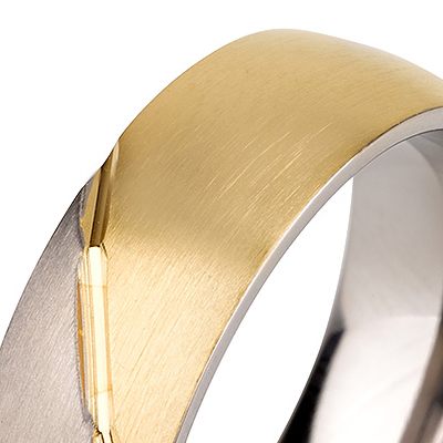 Titanium wedding bands - 14k Gold Plate brushed titanium ring with brushed titanium design - 7mm