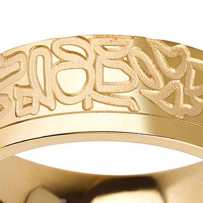 Titanium wedding bands - 14k Gold Plate vintage design titanium ring - 7mm