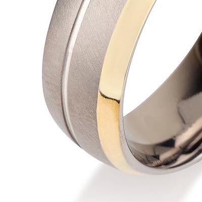 Titanium wedding bands - 14k Gold Plate polished titanium ring with brushed finishing - 7mm