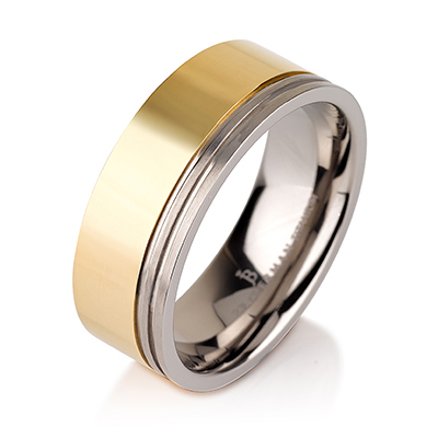 Titanium wedding bands - Polished titanium ring with 14k gold plating and engraved trims - 8mm