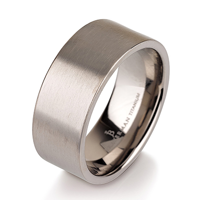 Titanium wedding bands - Wide brushed titanium ring - 9mm