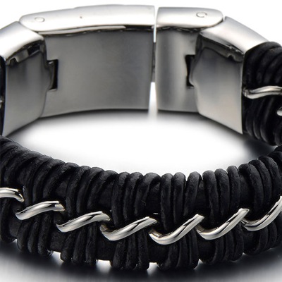 Mens Bracelets - Black leather and titanium bracelet 2cm wide and 23cm long