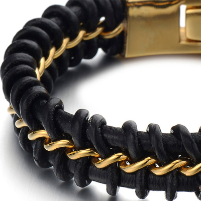 Mens Bracelets - Black leather with 14k gold plated titanium bracelet 12mm wide and 21cm long