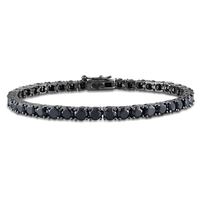 Mens Bracelets - Sterling silver 925 bracelet black rhodium dipped - with 58 black crystals 2mm wide and 20cm long