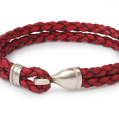 Mens Bracelets - 'Sea Treasures' Sterling silver 925 with genuine red and black leather bracelet, polished hook clasp