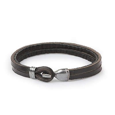 Mens Bracelets - 'Sea Treasures' Sterling silver 925 with dark leather bracelet, oxidized hook clasp