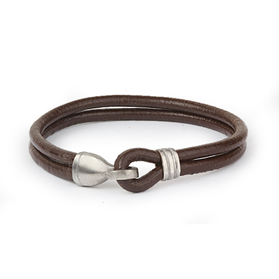 Mens Bracelets - 'Sea Treasures' Sterling silver 925 with genuine brown leather bracelet, polished hook