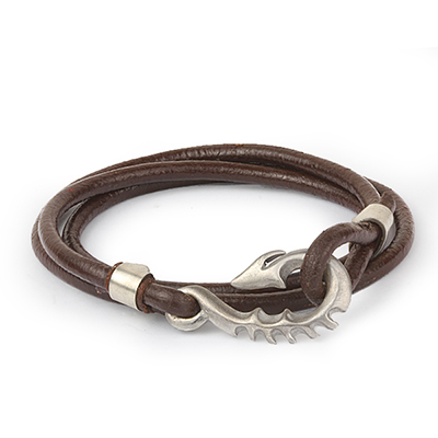 Mens Bracelets - 'Sea Treasures' Sterling silver 925 with rounded brown leather bracelet, polished seahorse