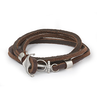 Mens Bracelets - 'Sea Treasures' Sterling silver 925 with genuine brown leather bracelet, polished anchor
