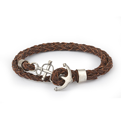 Mens Bracelets - 'Sea Treasures' Sterling silver 925 with light brown leather bracelet, anchor clasp