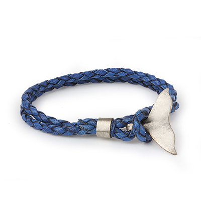 Mens Bracelets - 'Sea Treasures' Sterling silver 925 with genuine blue leather bracelet, polished fin