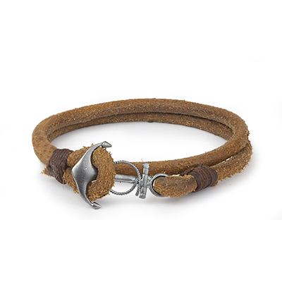 Mens Bracelets - 'Sea Treasures' Sterling silver 925 with genuine light brown leather bracelet, brushed and oxidized anchor