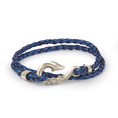 Mens Bracelets - 'Sea Treasures' Sterling silver 925 with genuine blue and black leather bracelet, seahorse clasp polished