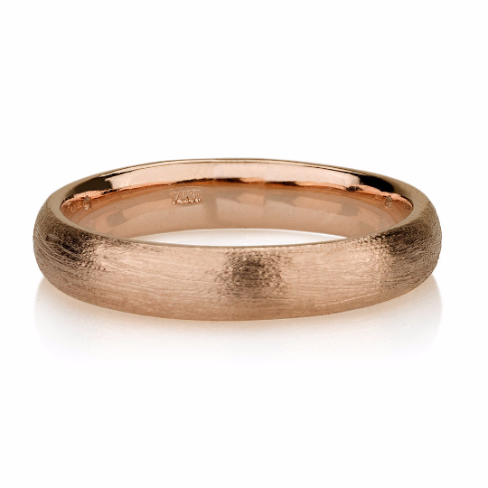 14K Rose Gold Wedding Band, Brushed Men's or Women's Unisex 5mm Domed Recycled 14k Rose Gold Ring - Matte Band Comfort Fit