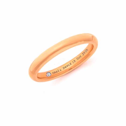 14K Rose Gold Wedding Band Hidden Diamond And Inscription Ring