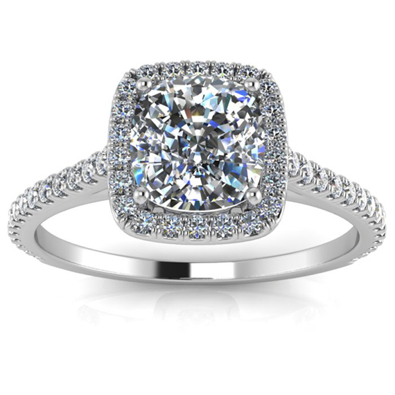 14K White Gold Cushion Diamond Engagement Ring - Halo Pave Side Diamonds