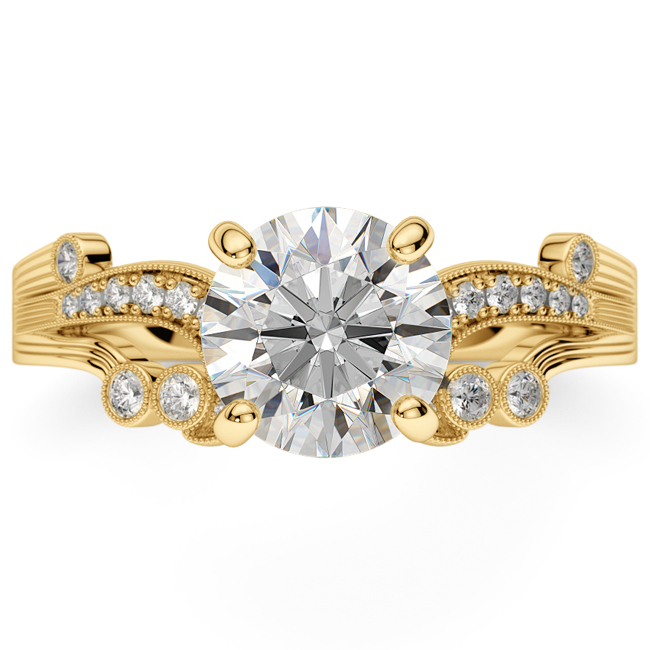 14K Yellow Gold Victorian Style Vintage Engagement Ring, Diamond Ring