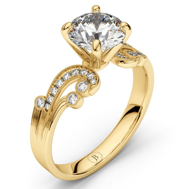 14K White Gold-Rhodium Dipped Victorian Style Vintage Engagement Ring, Diamond Ring